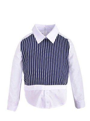Блузка - белый, синий цвет
