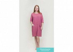 180005 Платье-туника рукав 3/4 с карманами,вс темно-розовый 54/3XL