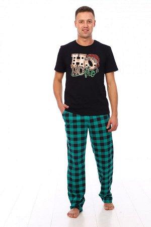 Костюм мужской 1266 хохо (черная футболка и зеленые брюки)