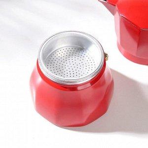 Кофеварка гейзерная «Белланто», на 3 чашки, цвет красный