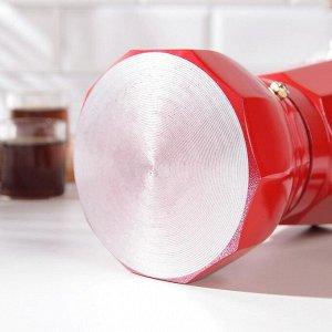 Кофеварка гейзерная «Белланто», на 6 чашек, цвет красный