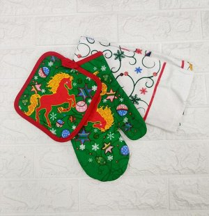 """Набор из 3-х """"Bonita"""", прихватка (17*17 см)+рукавица (26*17 см)+полотенце (63*38 см), С Новым Годом!"""