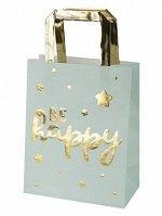 Пакет из крафт-бумаги с золотым тиснением Be Happy