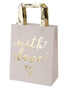 Пакет из крафт-бумаги с золотым тиснением With Love