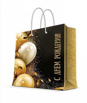 Бумажный пакет Золотые шары, 40.6x33x16