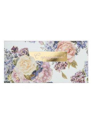 Самосборный конверт с тиснением для денег Розы 8,5*17