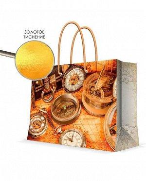 Бумажный пакет с золотым тиснением Часы