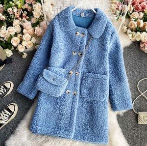 Пальто с сумочкой,голубой