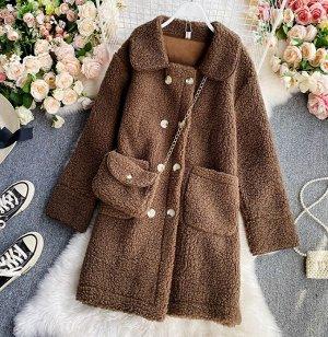 Пальто с сумочкой,коричневый