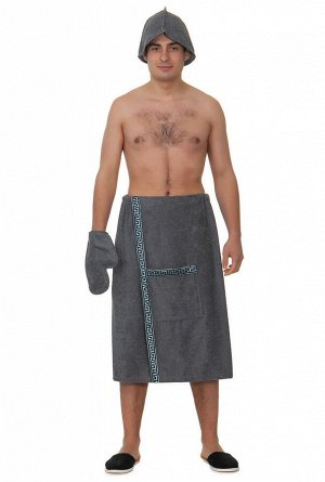 Набор для сауны махровый мужский серый