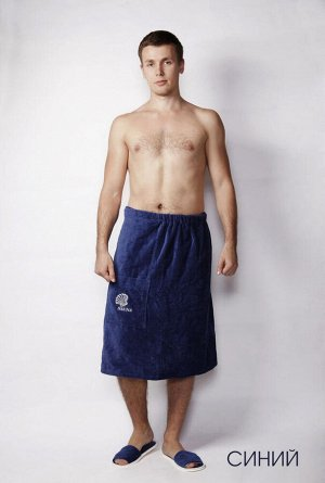 Полотенце-накидка велюровая мужская синяя