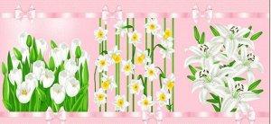 Набор вафельных полотенец Цветочки (3шт)