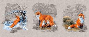 Набор полотенец рогожка Лисы (3 шт.)