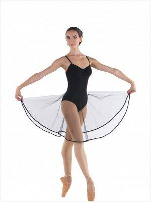 юбка 939 черный 100%па юбка-солнце выше колена из тонкого фатина, с резиной в поясе, снизу атласная отделка