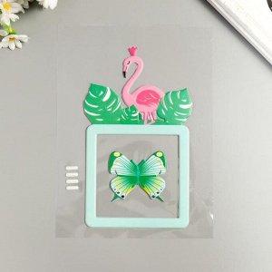 """Наклейка пластик светится в темноте на выключатель """"Фламинго и бабочка"""" 25х16,5 см 5294754"""