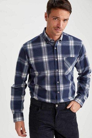 рубашка Размеры модели: рост: 1,89 грудь: 100 талия: 81 бедра: 97 Надет размер: L  Хлопок 50%, Полиэстер 50%