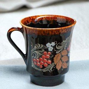 """Кружка """"Цветы и ягоды"""" коричневая, деколь, 350 мл, микс"""
