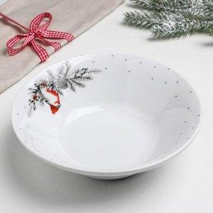 Салатник «Новогодняя чёрно-белая,снегири», 19 см