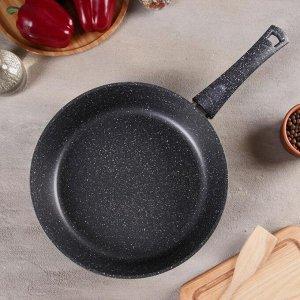 Сковорода «Титан & Гранит», d=28 см, индукционное дно, стеклянная крышка, антипригарное покрытие, цвет чёрный