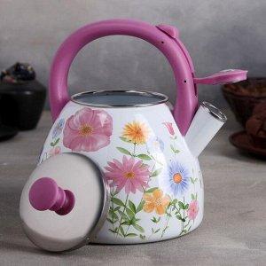 Чайник эмалированный со свистком «Чудесница. Полевые цветы», 3 л