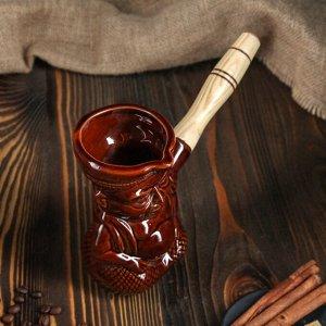 """Турка для кофе """"Индус"""" 0,4 л, керамическая, с деревянной ручкой"""