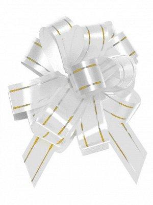 Бант шар с золотой полосой цвет белый 18 мм 10 штук