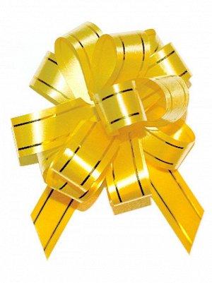 Бант шар с золотой полосой цвет желтый 18 мм 10 штук
