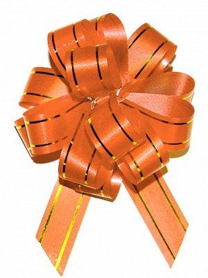 Бант шар с золотой полосой цвет оранжевый 18 мм 10 штук