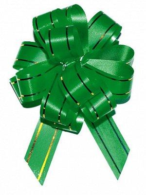 Бант шар с золотой полосой цвет зеленый 18 мм 10 штук