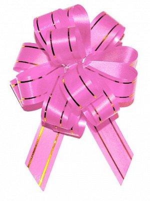Бант шар с золотой полосой цвет розовый 18 мм 10 штук