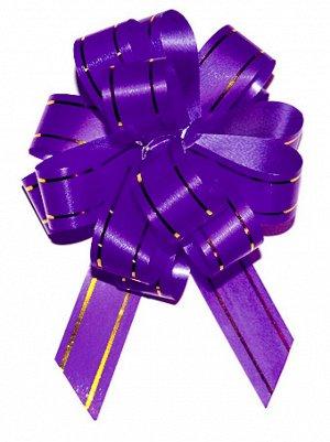 Бант шар с золотой полосой цвет фиолетовый 18 мм 10 штук