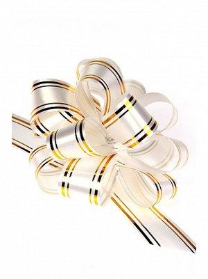 Бант шар 323/00 с золотой полосой цвет белый 32В