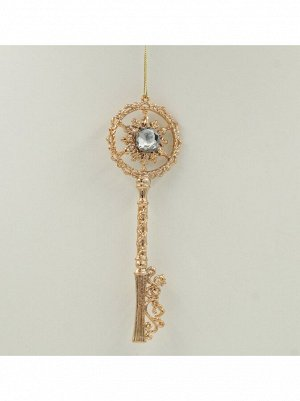 Подвеска Ключ с глиттером 19 см розовый