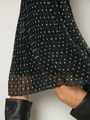 Платье в  горох  с плиссировкой PL1108/nola