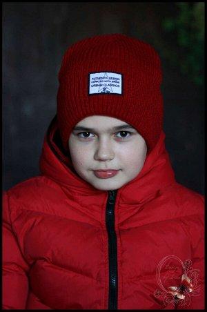 Вязаная шапка на флисе «Урбан»(красная)