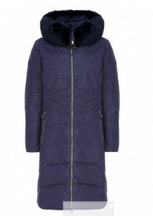 Женское текстильное пальто на натуральном пуху с отделкой мехом кролика