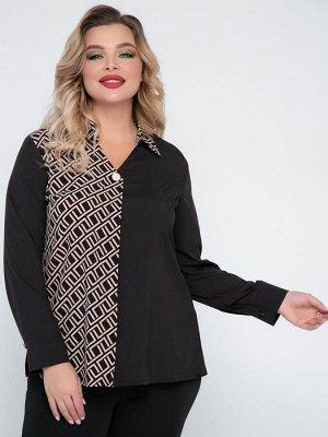 Блузки Блузка полуприлегающего силуэта выполнена из комбинированной блузочной ткани. - однотонная и контрастная расцветка - V-образная горловина с отложным воротником на стойке - длинные втачные рукав