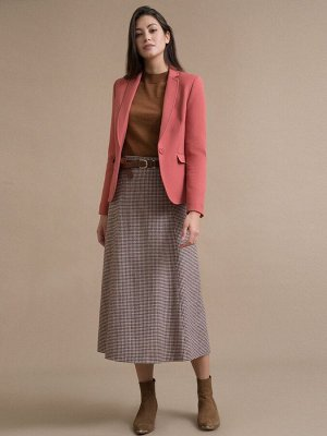 Юбка Состав ткани: Шерсть 45%, Полиэстер 55% Длина: 87 См. Описание модели Серая юбка-миди с орнаментом гусиная лапка. Модель А-силуэта, выполнена без пояса, имеет притачные шлевки. Застегивается сзад