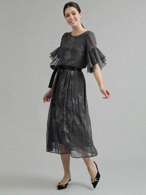 Юбка Состав ткани: Полиэстер 100% Длина: 87 См. Описание модели Серая юбка миди с цветочным принтом. Модель А-силуэта с притачным поясом с бантом. Застегивается сзади на потайную застежку-молнию. Возд
