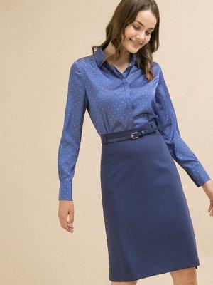 Юбка Состав ткани: Вискоза 60%, Полиэстер 37%, Спандекс 3% Длина: 66 См. Описание модели Юбка синего цвета с подкладкой. Модель А-силуэта, имеет притачной пояс, на спинке в среднем шве расположены зас