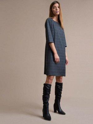 Платье Состав ткани: Вискоза 60%, Полиэстер 37%, Эластан 3% Длина: 93 См. Описание модели Темно-серое платье в клетку. Модель А-силуэта с рукавами 3/4. Платье декорировано резинкой. Модель с подкладко