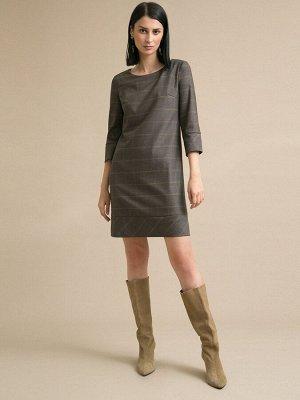 Платье Состав ткани: Вискоза 60%, Полиэстер 37%, Эластан 3% Длина: 88 См. Описание модели Платье в клетку. Модель прямого кроя, имеет круглый вырез горловины, рукава 3/4 с манжетами на пуговице. Сзади