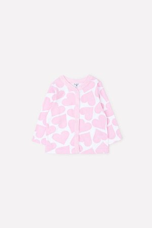 Кофточка(Осень-Зима)+baby (св.розовые сердечки на белом)