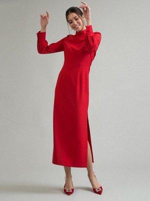 Платье Состав ткани: Полиэстер 77%, Вискоза 20%, Эластан 3% Длина: 135 См. Описание модели Красное платье полуприталенного силуэта. Имеет воротник-стойку с боковой планкой на пуговицах и длинные рукав