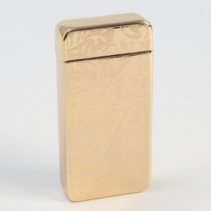 Зажигалка электронная, дуговая, USB, цветочный орнамент, золотая, 7.5х12 см