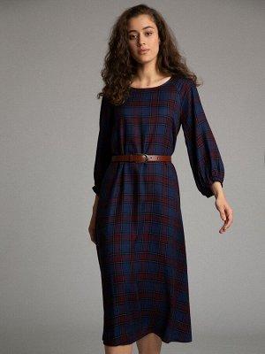 Платье Состав ткани: Вискоза 100% Длина: 115 См. Описание модели Элегантная клетка. Элегантное женственное платье с имитацией шотландской клетки и укороченными рукавами на манжетах. Модель подойдет и