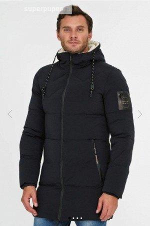 Мужская текстильная курткана искусственном пуху с отделкой меховой тканью и искусственной кожей