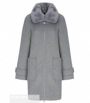 Женское текстильное пальто с отделкой мехом кролика