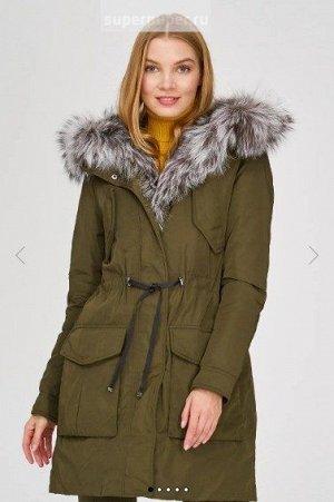 Женское текстильное пальто на натуральном пуху с отделкой мехом чернобурки