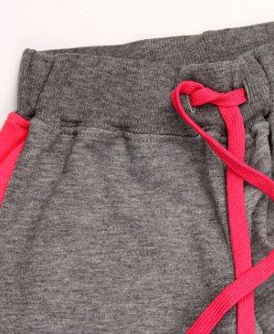 Серые спортивные брюки для девочки с лампасами Цвет: серый